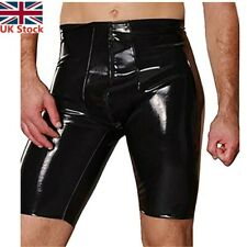 #S Mens Shiny Patent Leather Boxer Briefs Zipper Pouch Shorts Pants Underwear