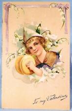 Vintage To My Valentine Postcard Pixie Boy Lily of Valley Paul B Finkenrath #7