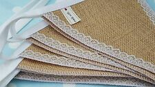 HESSIAN & LACE Fabric Bunting  12m/40ft - 48FLAGS  Wedding Christmas Party