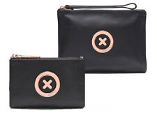 Mimco Black rose gold Medium and Small supernatural Soft Leather Pouch Package