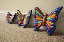 mexican folk art collectible butterflies, hand painted
