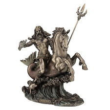 Poseidon with Trident riding a Hippocampus Statue Sculpture Figurine sea God NEW
