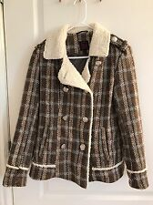 Material Girl womens blazer jacket wool blend taupe plaid with fleece trim L