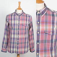 Para hombres Camisa Ralph Lauren cheque Preppy Rosa de botones en el cuello Oxford M
