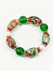 Artisan Green Red Lampwork Glass Bead Faux Pearl Stretch Bracelet Christmas