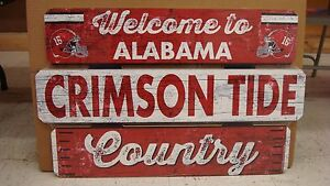 "ALABAMA CRIMSON TIDE WELCOME TO CRIMSON TIDE COUNTRY WOOD SIGN 19""X30'' WINCRAFT"