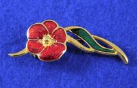 Vintage Gold Tone Flower Brooch with Red Green Enamel