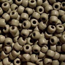 Matte Khaki 9x6mm Barrel Pony Beads 500pc Made in the USA