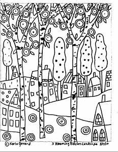 RUG HOOKING CRAFT PAPER PATTERN 3 Blooming Birches FOLK ART PRIM Karla Gerard