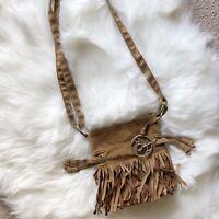 Roxy Quiksilver Brown/Tan Boho Fringe Fall Cinch Handbag Bag Purse  EUC