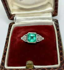 CLASSIC BRIGHT GREEN NATURAL 2.17CT EMERALD & DIAMOND RING WITH VALUATION $8,970