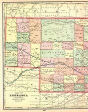 1905 Antique NEBRASKA State Map Crams Vintage Map of Nebraska Gallery Wall 5589