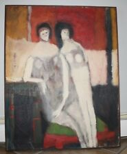 Otis Huband Modernism Oil Painting of Two Women Signed & Framed