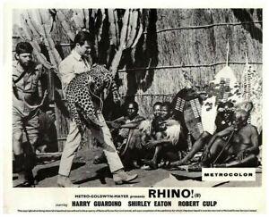 Rhino! Original Lobby Card Robert Culp Carrying Leopard near African Warriors