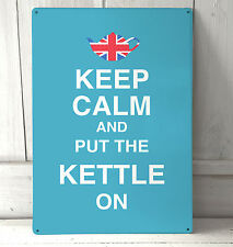 Keep Calm and put the Kettle on metal plaque Shabby Chic retro sign