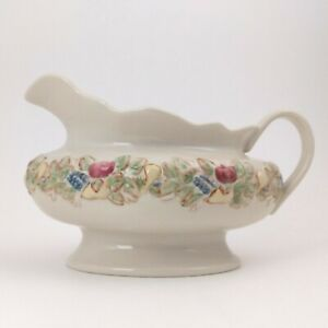 Gravy Boat with Fruit Pattern,  Embossed Ceramic