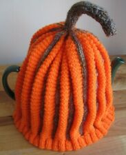 THICK HAND KNITTED TEA COSY. FRESH PICKED PUMPKIN. RUSTIC, AUTUMN, HALLOWEEN.