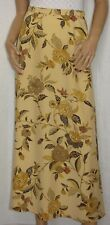 Ellen Tracy Company Size 4 Long Silk A-Line Skirt Floral on Yellow