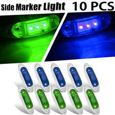 10X Oval Fish Shape Side Blue+Green 3 LED Marker Clearance Light Truck Trailer