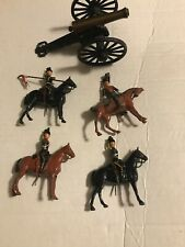 Vintage Lot of 4 Britains Ltd Horsemen Soldiers Metal With Cannon By C 1/2 Mfco