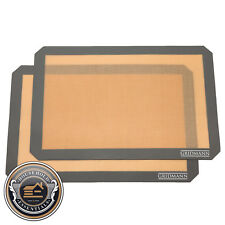"2 Non-Stick Silicone Baking Mats Tray Pan Liners - Half Sheet 16-1/2"" x 11-5/8"""