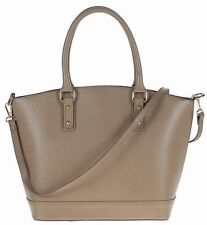 Genuine leather woman handbag tote shoulder bag hobo strap Made in Italy TAUPE