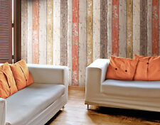 Realistic Shabby Chic Coloured Rustic Distressed Wood Panel Effect Wallpaper