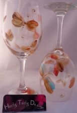 2 Hand-Painted Autu Orang & Gold Dragonfly Wine Glasses