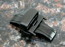 BLACK 18MM Deployment Buckle Double Clasp BRUSHED Stainless Steel