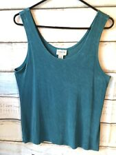 Size 2 CHICO'S TRAVELERS Teal Blue Ribbed Acetate Tank Top Shell No Wrinkle EUC