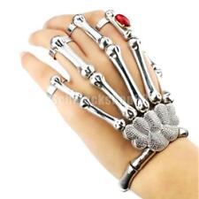 Mode Punk Totenkopf Skelett Slave Armband Ring Fingerring Silber