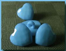 6 BOUTONS Coeur Bleu à facettes 14 mm pied 1,4 cm blue button sewing mercerie