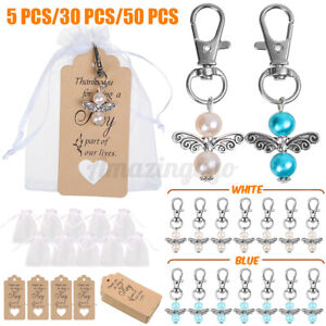 Wedding Angel Key Ring + Organza Pouch + Pendant Gifts For Baptism   e s