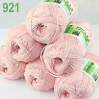 Sale New 6X50g balls Fingering  Soft Bamboo Cotton Hand Knitting Yarn pink 921