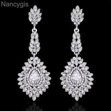 Elegant Crystal Silver Long Chandelier Teardrop Party Bridal Wedding Earrings
