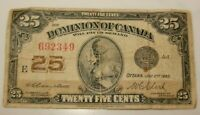 JULY 2ND,1923 CANADA 25 CENTS FRACTIONAL NOTE SHINPLASTER CAMPBELL & CLARK
