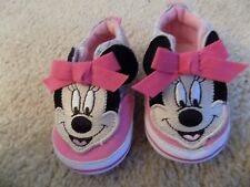 Disney Minnie Mouse Baby Girl Slip On Shoes 6-9 Months Pink and Plaid