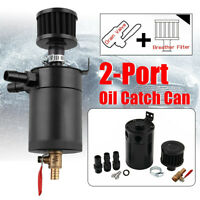 Universal 2-Port Oil Catch Can Tank Reservoir with Drain Valve Breather