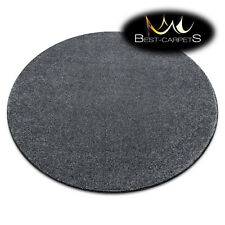 "MODERN thick CARPETS Round ""SAN MIGUEL"" grey plain one colour Best Quality Rugs"
