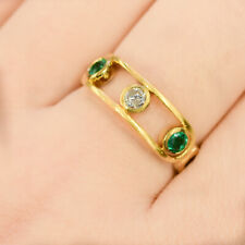 Yellow Gold Diamond and Colombian Emeralds Dress Ring