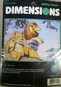 """Dimensions Gallery Crewel  MAJESTIC FAMILY Kit #6219 - Lions - 7""""x5"""""""