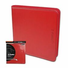 BCW RED Z-Folio Zippered LX Leatherette Album with 12 Pocket Pages