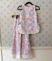 Vintage 1970s Girls Blue, Pink and White Butterfly Outfit