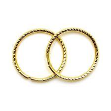 9ct gold hoop earrings 12mm diamond cut sleepers light weight (1 pair)