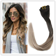 """Full Shine 14"""" 7pcs Black to Ash Blonde Ombre Color Clip in Hair Extensions 50g"""