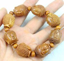 Unisex Hand-carved Buddha Wooden Beaded Bracelet Crafts Elastic Bracelet