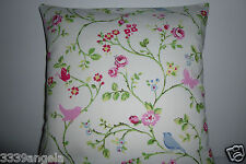 """16"""" NEW CUSHION COVER CLARKE CHINTZ BIRD BUTTERFLY FLOWERS VINTAGE PINK RED BLUE"""