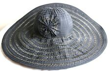 San Diego Hat Co Black Pinwheel Detail Wide Brim Sun Beach Floppy Hat Paper