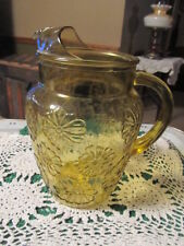 Vintage Anchor Hocking Amber Daisy Glass Pitcher