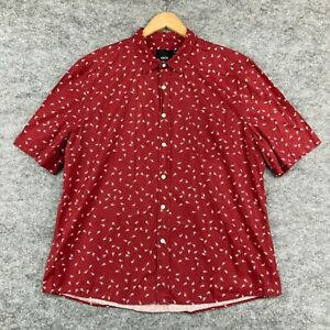 ASOS Mens Button Up Shirt Size 2XL Red Paisley Short Sleeve Slim Fit 124.06